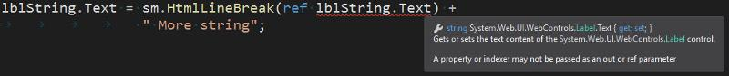 Error passing the text property of a web control to a class method