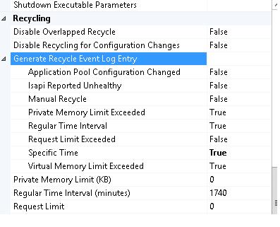 iis-recycle settings