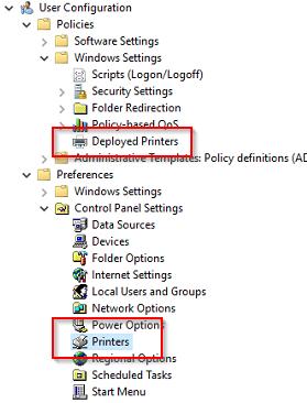 Printers GPO, Preferences vs Policy