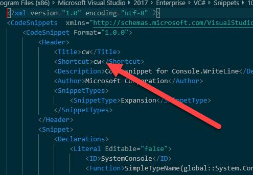Edit shortcut
