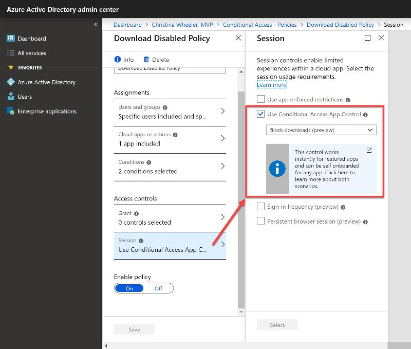 Azure AD Conditional Access Session policy