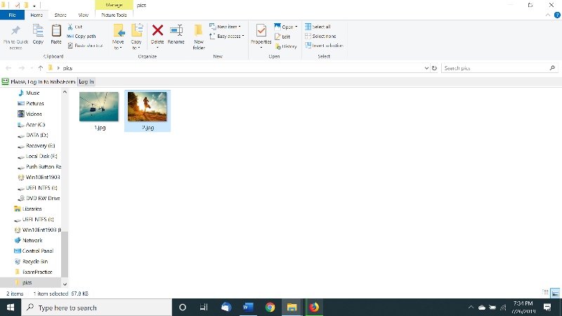 pictures shown with file names