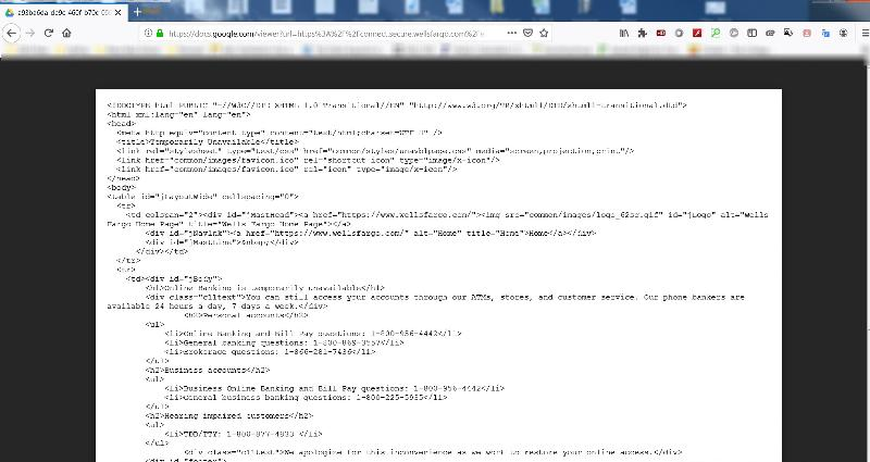 Screenshot of HTML code that displays when I try to view a pdf statement