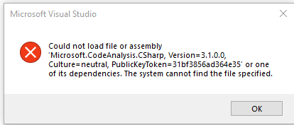 Could Not Load File or Assembly