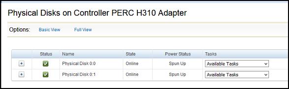 Dell Perc H310 Raid showing incorrectly