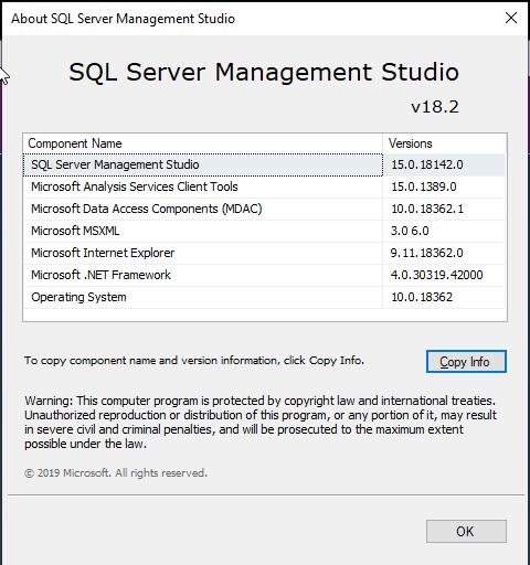 Display problem with SQL Server Management Studio v18 2