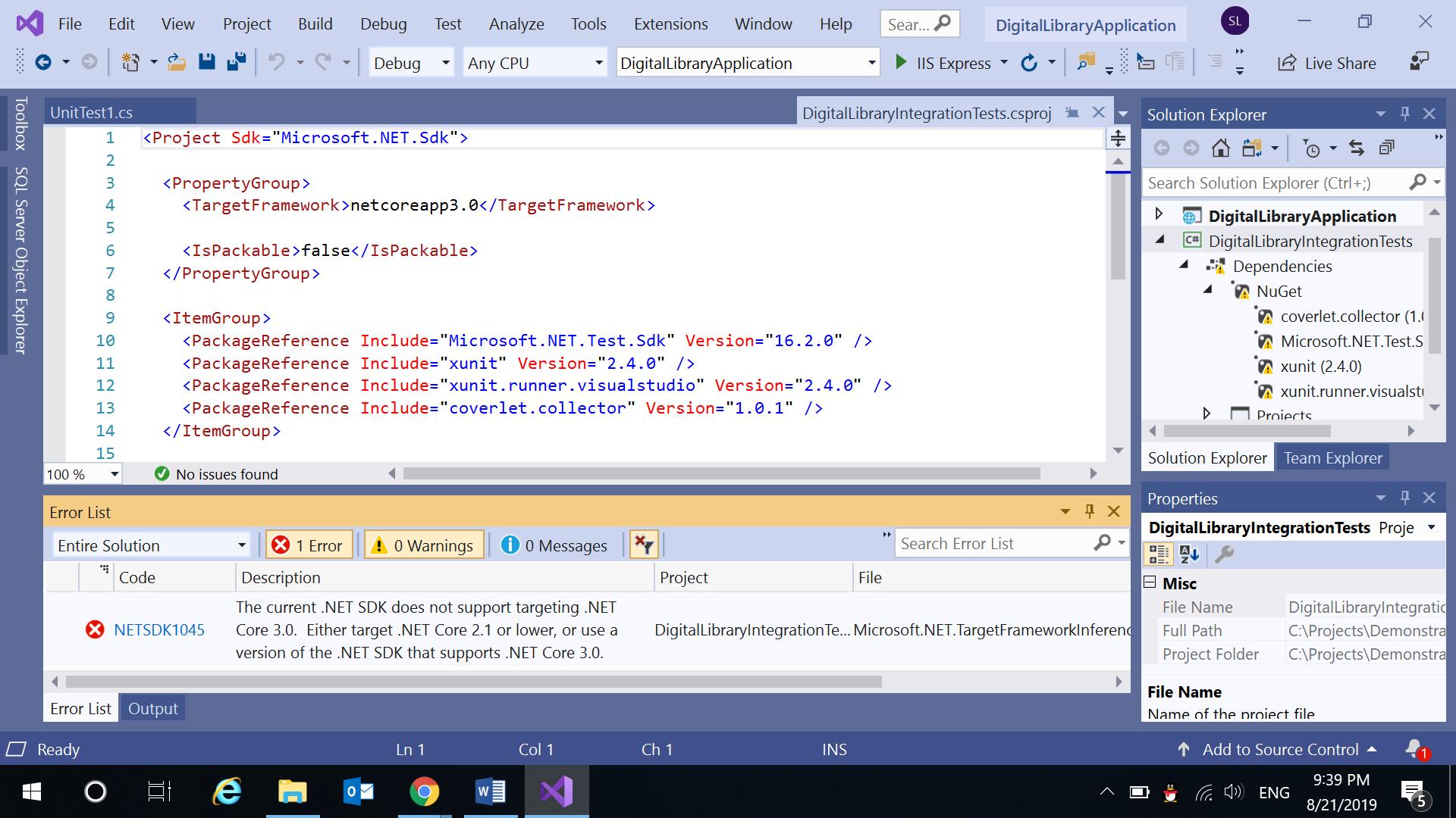 Problem on running Integration Test on ASP Core 3 0