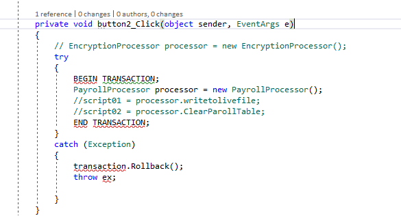 Handling Transaction Under a Click Button Event