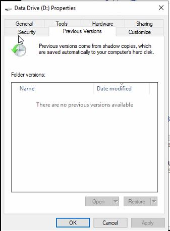 Windows 2019 ReFS Previous versions are not populating