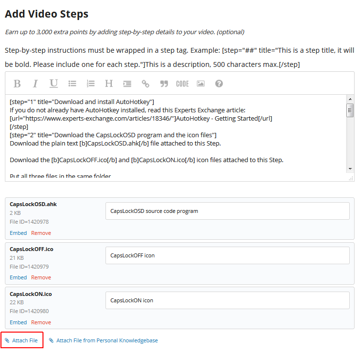 ee video attach file