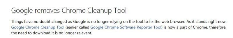 Chrome Cleanup tool no longer exists.