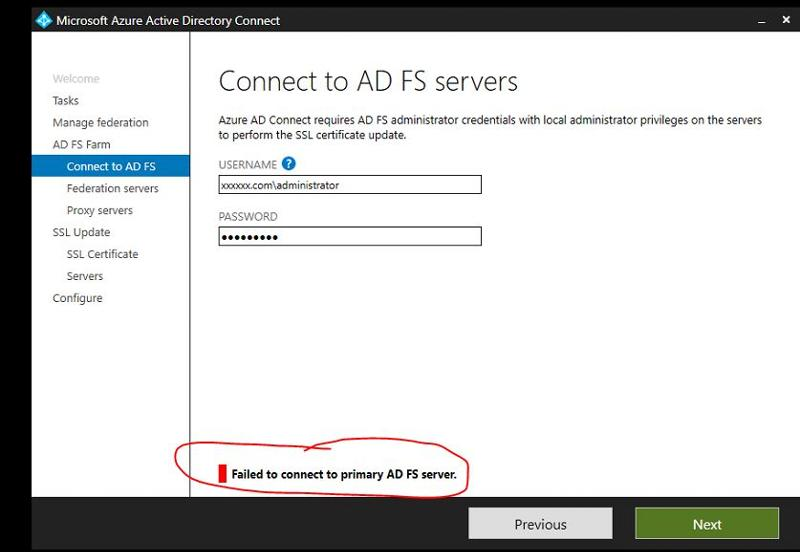 Failed to connect to primary AD FS serve