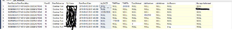 Screenshot showing SQL with a row for each value.