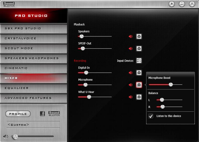 Screen shot of Soundblaster mixer panel