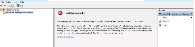 exchange management console startup error