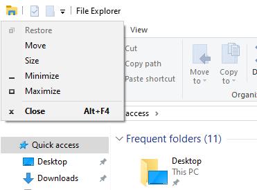 Window context menu