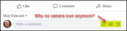FB Comment Box with No Camera Icon