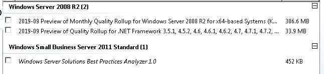 Windows update on SBS2011