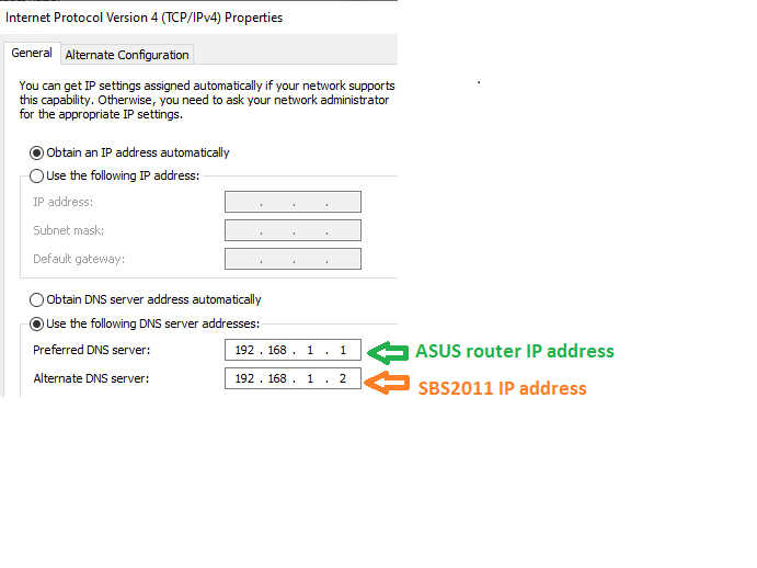 TCP IP settings in Workstation PC