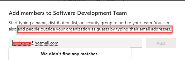 error screen when trying to add guest via Desktop version of Microsoft Teams
