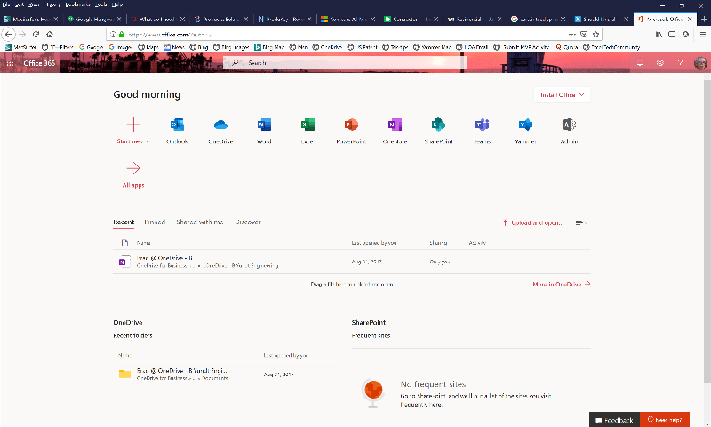Office 365 portal page
