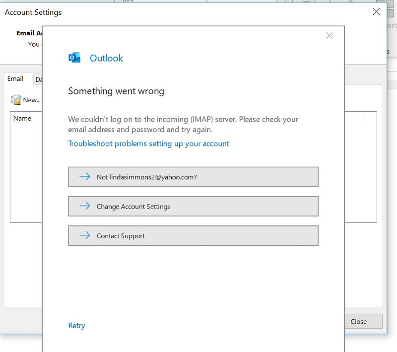 Outlook Mail Error