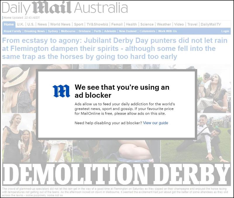 Daily Mail Australia with Google Chrome