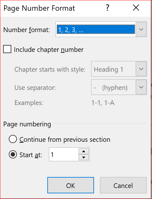 Page number format dialog