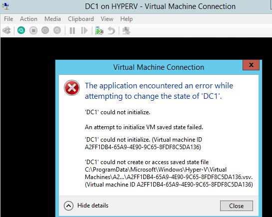 DC1 Start Error