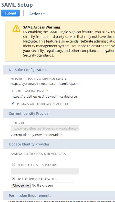 NetSuite SAML Setup