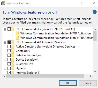 Windows features Screenshot