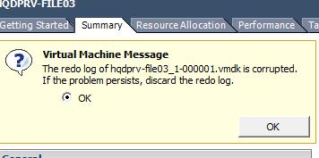 Error as seen in Vcenter
