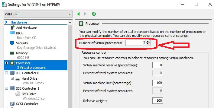 Processor allocation in VM settings
