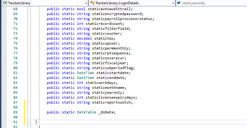 _dsData  defined as static class
