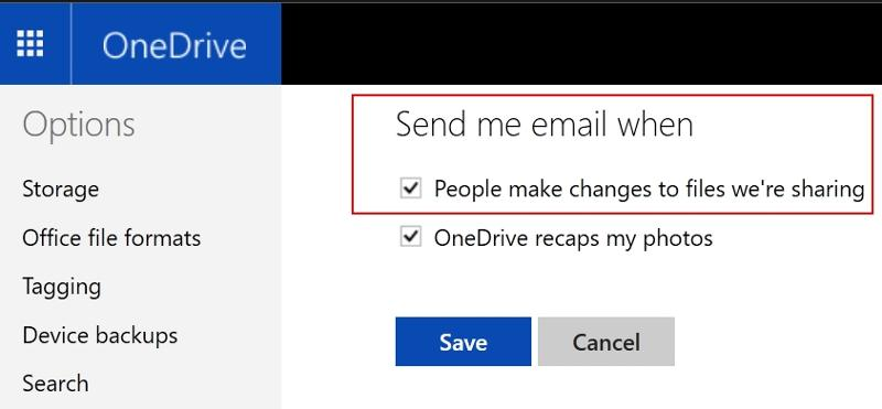 email notification in one drive is on by default for shared files