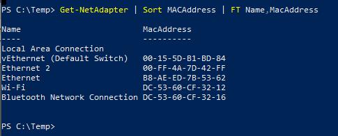 PowerShell MacAddress