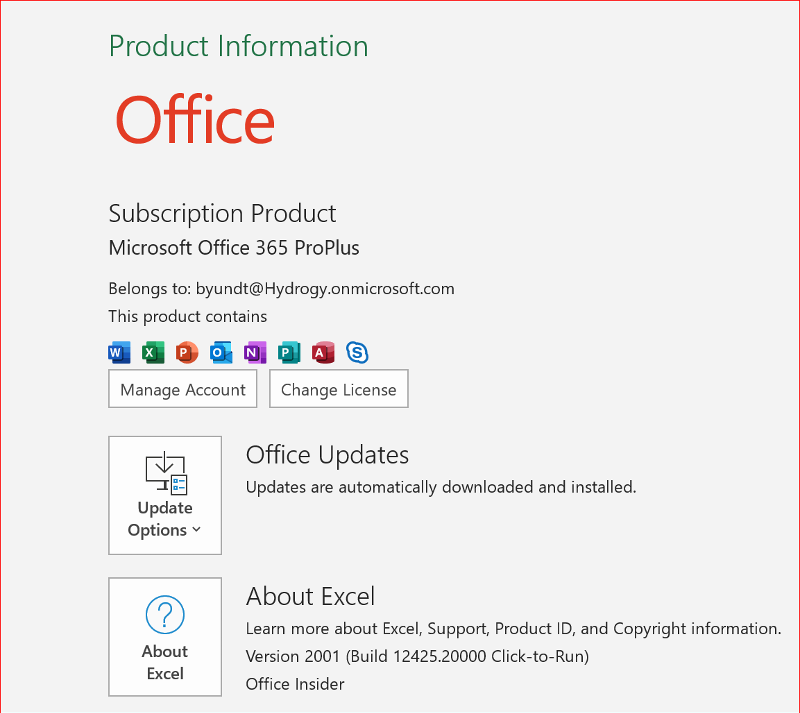 Excel 2016/Office 365 subscription