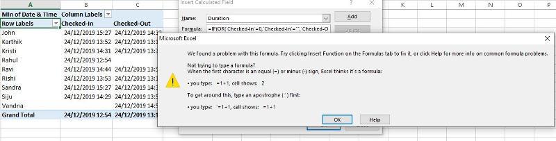 Error In Calculated Field