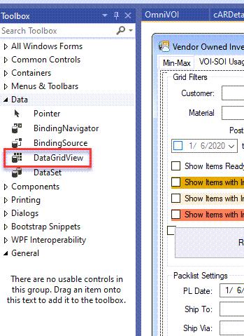DataGridView toolbox