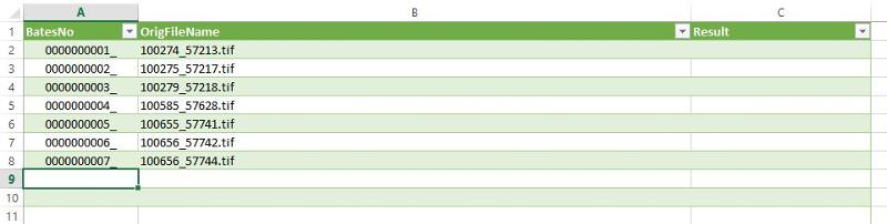 Simple spreadsheet of list of files needing renamed