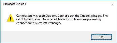 Non cached error when opening outlook