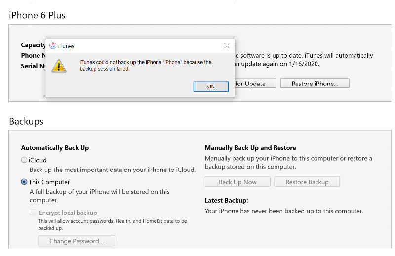 Itunes backup message